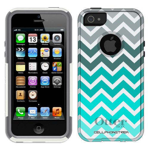 Special Sale Otterbox Commuter Series Chevron Grey Green Turquoise Pattern Hybrid Case for iPhone 5 & 5s