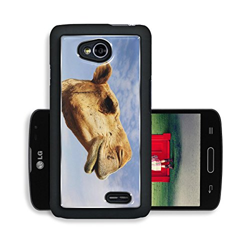 Liili Premium LG Optimus L70 Dual Aluminum Snap Case A close up view of the head of a dromedary camel against a slightly cloudy sky IMAGE ID 6025115