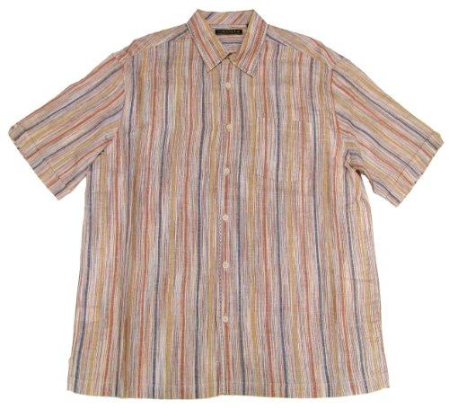 Cubavera Cotton Stripe Space Dyed Linen Blend Shirt Xl