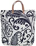 Cotton Canvas Navy Blue and White Paisley Tote Bag with Leather Handles 17&quot;Lx17&quot;H