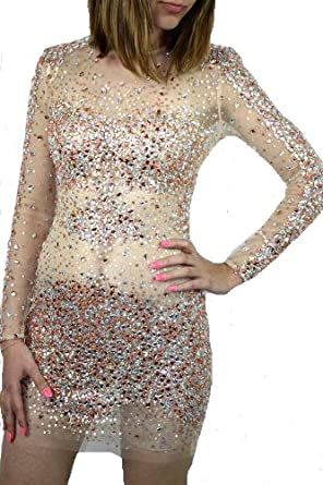 Gold Cocktail Dress on Jovani 7757 Rose Gold Short Beaded Sheer Prom Dress Evening 2 6 New