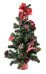 Small Artificial Christmas Tree Decorated with Red...