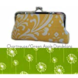 Bridesmaid Clutches-Bridal Clutch CHARTREUSE & WHITE DANDELIONS Handmade Wedding or Everyday Bag, Silk Lined, Great Bridesmaid Gift