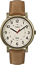 Timex Original Unisex Quartz Watch with Beige Dial Analogue Display and Brown Leather Strap - T2P220PF