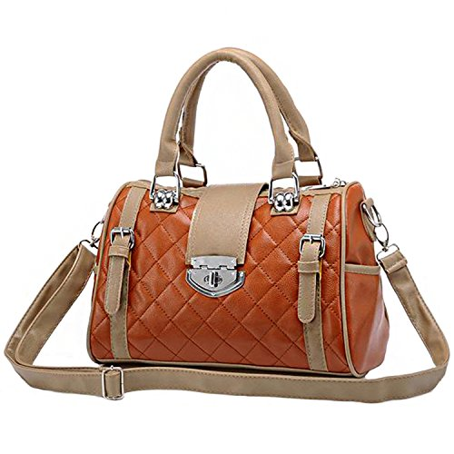 MG Collection Karasi Dual-Tone Diamond Quilted Turn-Lock Bowling Style Shoulder Bag, Brown, One Size
