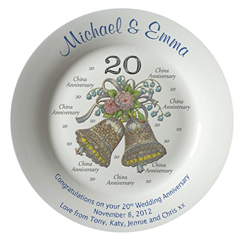 Personalized Bone China Commemorative Plate For A 20th Wedding Anniversary - Wedding Bells Design With A Plain Rim