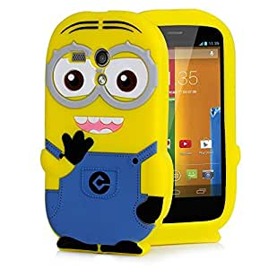 Plus Cute Cartoon Minion Soft Rubber Silicone Bumper Best Back Case Cover For Motorola Moto G - Blue