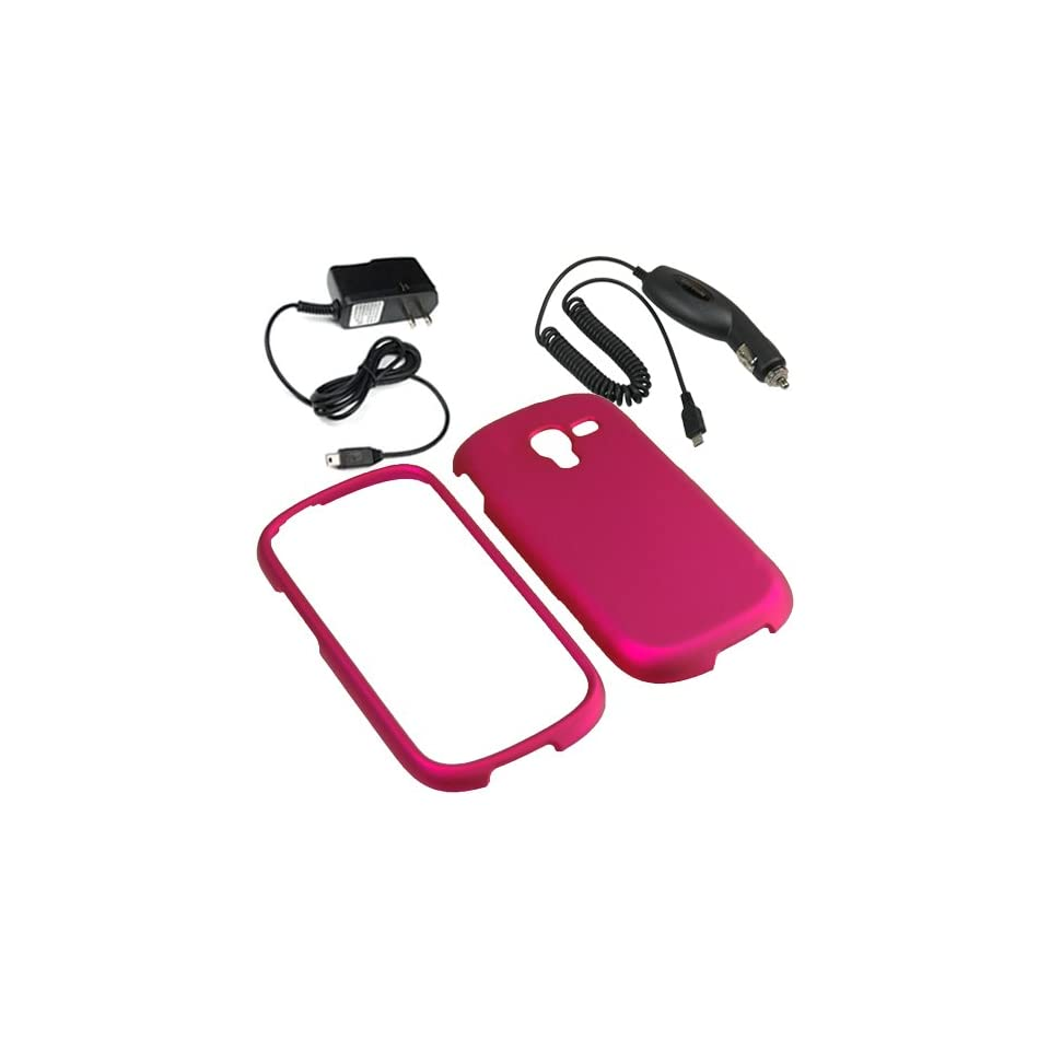 Aimo Hard Shield Shell Cover Snap On Case for T Mobile Samsung Galaxy Exhibit T599 (2013)+ Car + Home Charger Rose Pink