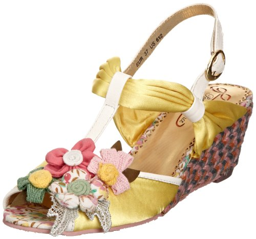 Poetic Licence Women's Hippy Goddess Yellow Wedges Heels 4018-2B 6 UK, 39 EU