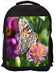 """Snoogg Multicolor Butterfly In Pink Flower Casual Laptop Backpak Fits All 15 - 15.6"""" Inch Laptops"""