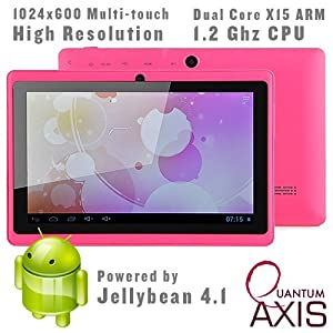 "Axis 7"" Dual Core, Dual Camera, 1024*600 Capacitive Screen Android 4.1 Tablet PC With HDMI (Pink)"
