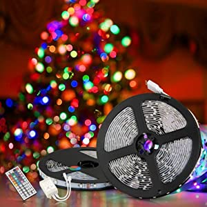 TOOGOO (R) 2x5m 10M 3528 tira flexible SMD LED RGB 600 Lampara de luz de la cinta 44 Controlador Colores IR Key. Ideal para jardines, Casas, cocina, debajo del gabinete, Acuarios, Coches, Bar, Luna, bricolaje decoracion del partido Iluminacion