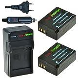 ChiliPower DMW-BLC12, DMW-BLC12E, DMW-BLC12PP Kit; 2x Batterie (1300mAh) + Chargeur pour Panasonic Lumix DMC-FZ200, DMC-G5, DMC-G6, DMC-G6K, DMC-GH2