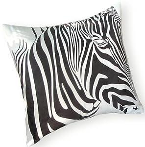 """Zebra Pillow 18"""" X 18"""" - Black and White Animal Print Accent Throw Decor"""