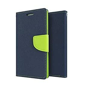 Micromax Canvas Selfie 2 Q340 Mercury Flip Wallet Diary Card Case Cover (Blue/Green) By Rainbow
