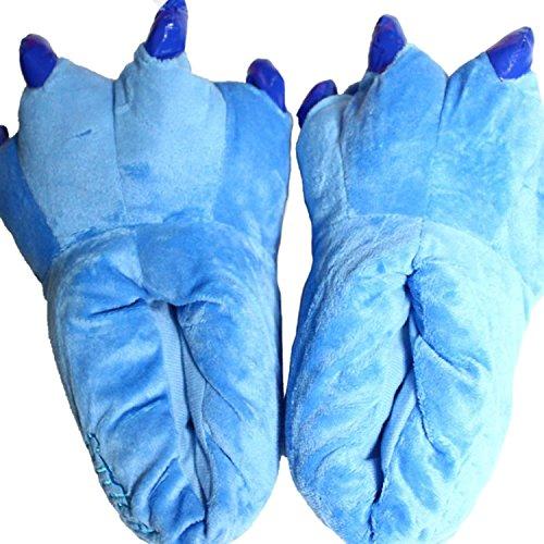 Minetom Unisex Invernali Pantofole Con Animali A Zampa Adulto Calde Halloween Costume Cosplay Blu L (40-44EU)
