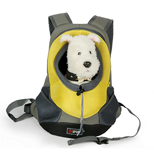 Tom Clovers Comfortable Polyester Dog Backpack Pet Carrier Cat Bag Backpack for Dog Outside Walking Small Yellow