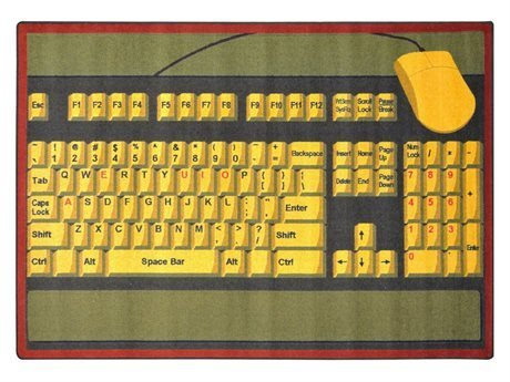 "Joy Carpets Kid Essentials Early Childhood Keyboard Connection Rug, Brown, 10'9"" x 13'2"" - 1"