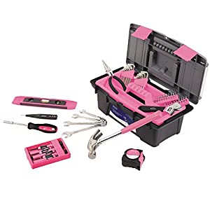 Apollo PrecisionTools DT9773P Household Tool Kit with Tool Box, Pink, 53 Piece