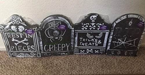 [Lot of 4 Crucial Popular Tombstone Halloween Creepy Haunted Graveyard Decor Cemetary Props Color Gray with] (Creepy Mlp Costume)