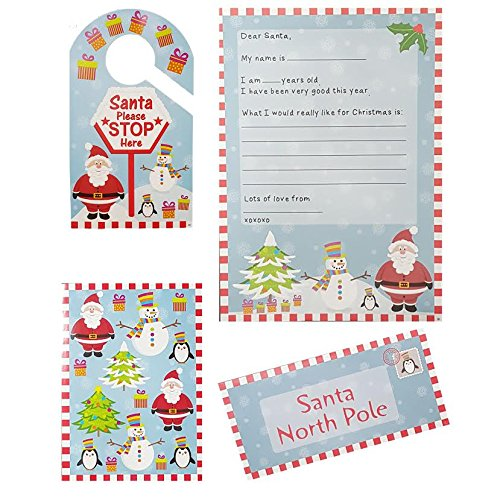 MEGA-VALUE-2-x-Kids-Christmas-Letters-To-Santa-Sets-Which-Include-Letter-Envelope-Sticker-Sheet-Door-Hanger