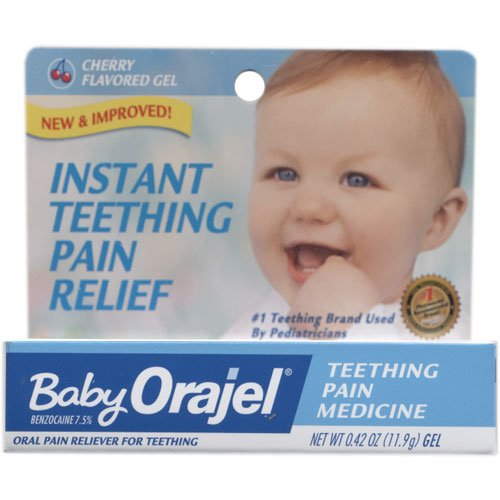Baby Orajel Teething Pain Relief, Cherry Flavored, .42 oz (Pack of 2)