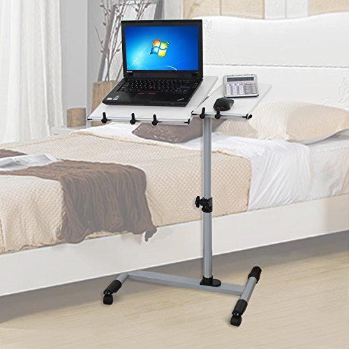 Songmics Scrivania per computer Scrivania ufficio porta PC Tavolo per Computer Altezza Regolabile Con Ruote Bianco LCD10W