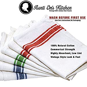 "Kitchen Dish Towels with Vintage Design, Super Absorbent 100% Natural Cotton Kitchen Towels (Size: 25.5""x15.5"") - 6 Pack Dish Towel Set - Blue, Green and Red Stripes"