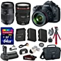 Canon 5D Mark III 22.3 MP Full Frame CMOS with 1080p Full-HD Video Mode Digital SLR Camera with Canon EF 24-105mm f/4 L IS USM Lens + Tamron Auto Focus 70-300mm Zoom Lens + Transcend 64GB Memory Card