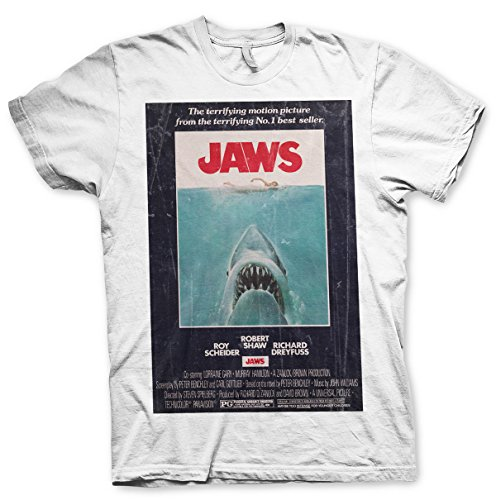 Jaws Vintage Original Poster T-Shirt (White) Official Store T-Shirt