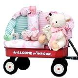 Welcome New Baby Girl Gift Wagon