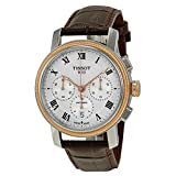 Tissot Mens 42mm Brown Genuine Leather Band Steel Case Automatic Silver-Tone Dial Watch T0974272603300