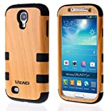 Meaci® Samsung Galaxy S4 I9500 Case Hard Soft Wood-plastic Composite&silicone Combo Hybrid Defender Bumper (wood&black)