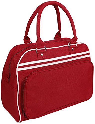 BagBase Retro Bowling Bag Borsetta rosso/bianco