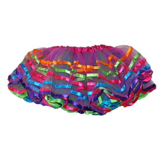 Rainbow Color Tulle Tutu 4 Layers w/Multi Color Ribbon Trim -1677FU