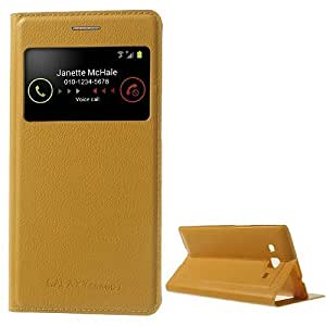 F2S for Samsung Galaxy Grand 2 Duos G7102 S View Smart Leather Back Housing w/ Stand-Yellow
