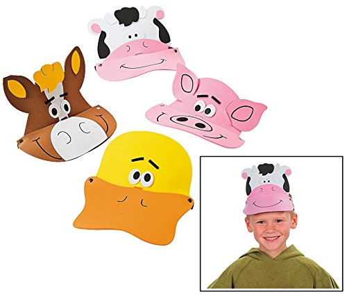 "Farm Animal Foam Visors (12 Pack) 21"" Circ."