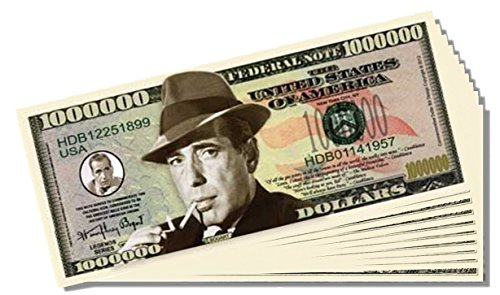 Humphery Bogart Million Dollar Bill - 25 Count with Bonus Clear Protector & Christopher Columbus Bill - 1