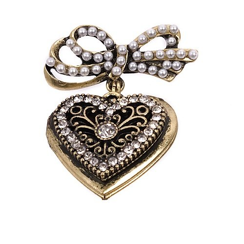 Fashion Trendy Heart with Ribbon Pin #026166