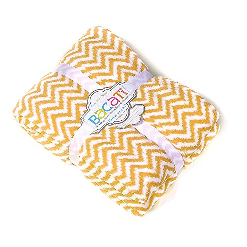 "Bacati Ikat Zigzag Chevron Plush Throw, Yellow, 50"" x 60"""