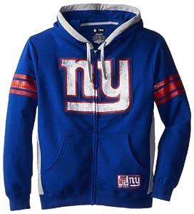 NFL New York Giants Men's Intimidating Hooded Full Zip Fleece, Deep Royal/Steel Heather, XX-Large
