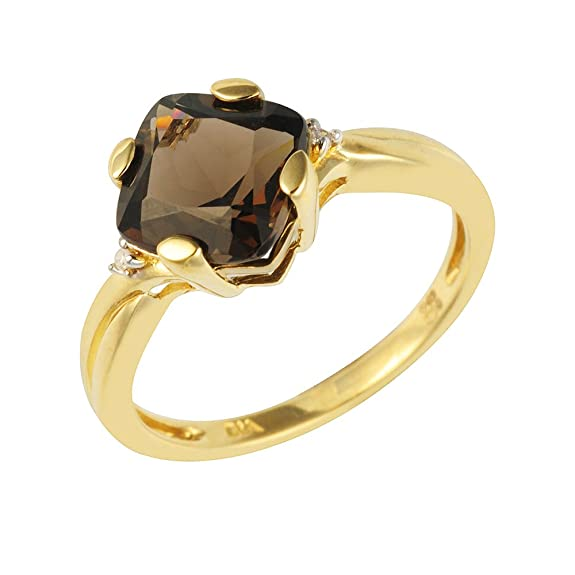 Ivy Gems 9ct Yellow Gold Smokey Quartz and Diamond Ring - Size M