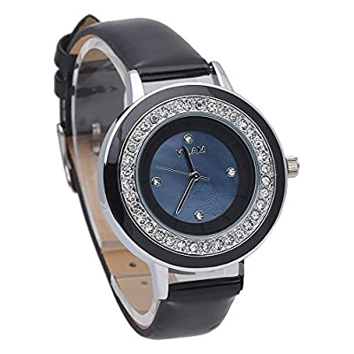 Fashion Black Leather Watches For Women Ladies Wristwatch With Diamond And Blue Dial