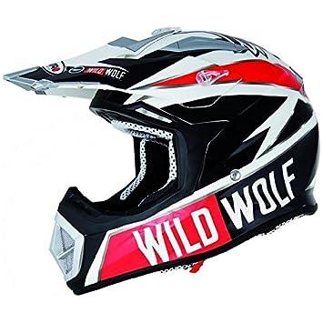 Casque moto cross SHIRO MX-912 WILD WOLF - Coque carbone - Blanc / Noir