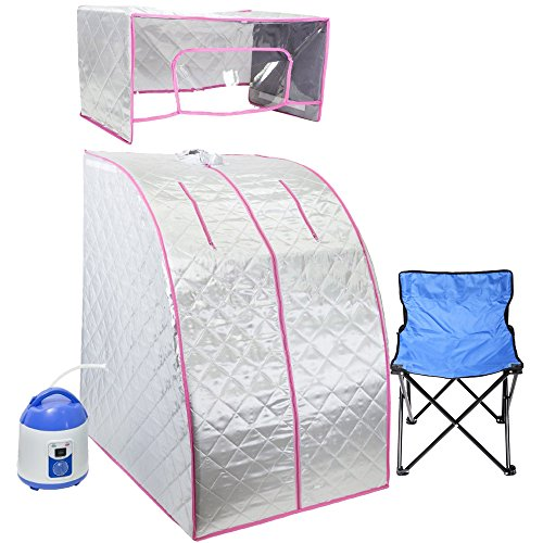 WYZworks Silver / Pink Portable Therapeutic Personal Steam Sauna Spa Room 2L Water Capacity with Headcover and Herb Box (Pore Opening Steam compare prices)