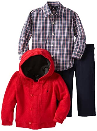 Nautica Sportswear Kids Little Boys' 3 Piece Sweater Set, Cherry, 4T