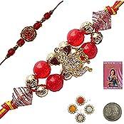 Indiangiftemporium Buy Fashionable Indian Handcrafted Beads Rakhi Rakhi Raksha Bandhan Gift Band Moli Bracelet...