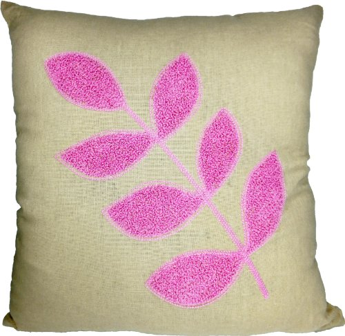 Decorative Flora Leaf Embroidery Throw Pillow Cover 18