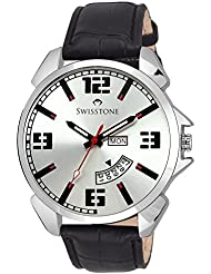 Swisstone WT95-SLV-BLK Silver Dial Black Leather Strap Day Date Wrist Watch For Men/Boys