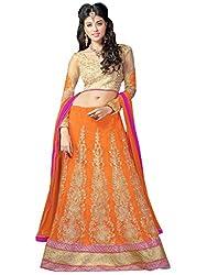 Inddus Women Orange & Gold Unstitched Lehenga Choli/Kurta